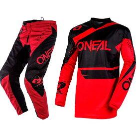 【S28〜XXL42】Oneal オニール ELEMENT RACEWEAR BLACK/RED 2020モデル モトクロス オフロードウェア ジャージ&パンツ 上下セット バイク かっこいい エレメント レースウェア おすすめ(ブラック/レッド)(AMACLUB)