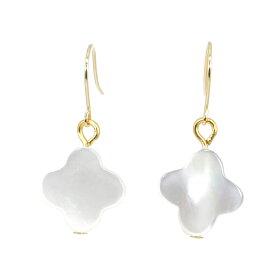 パール 真珠 ピアス 18k フック 淡水 クローバー型 シェル 貝 K18 K14 ホワイトゴールド