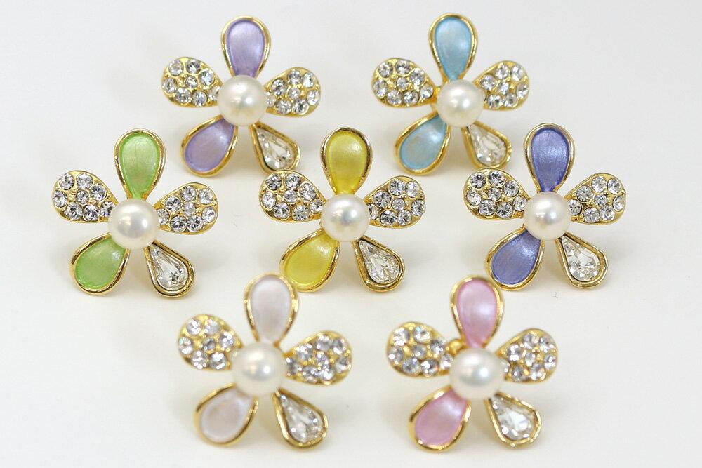 真珠 パール 花 ブローチ 白 5.5mmボタン型 金めっきピンブローチ 7色