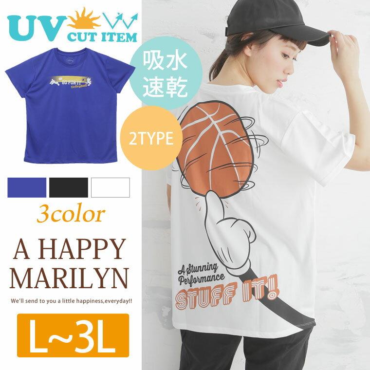 L〜 大きいサイズ レディース トップス■UV加工 吸水速乾 バレー と バスケ の 2typeから選べる!! ミッキーマウス & ミニーマウス 半袖 Tシャツ■トップス Tシャツ tシャツ ディズニー L LL 3L 11号 13号 15号 [IZM-7285-9721/IZM7285-9722] OMMTO