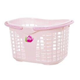 サンコープラスチック ランドリーバスケット ブライトバスケット フラワー No.35 パールピンク 洗濯カゴ 洗濯物 ランドリーバッグ バスケット 多目的 かご 籠 バスルーム 洗面所 お風呂 小物入れ 雑貨 キッチン 洗濯 中身 が 見える