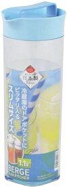 パール金属 ベルジュ スリム ピッチャー 1.1L ブルー 【日本製】 横置き 麦茶 お茶 水 食卓 ポット 麦茶ポット スリム 台所 冷蔵庫 ポケット 冷水筒