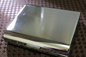 【PEARL】シガレットケース 18本 シルバー 85mm ストライプ模様 人気ブランド タバコケース レディース可 キングサイズ 金属製 たばこ入れ シルバー 煙草ケース