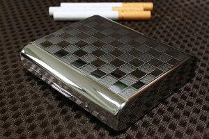 【PEARL】シガレットケース 18本 シルバー 85mm チェック模様 人気ブランド タバコケース レディース可 キングサイズ 金属製 たばこ入れ シルバー 煙草ケース