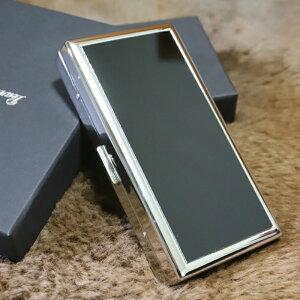 【PEARL】シガレットケース ブラックパネル ERIKA 12本 ブランド たばこケース 人気 ロングタバコケース 丈夫 日本製 ロングタバコ 100mm メンズ レディース 小型 黒色 エリカ