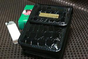 【LUXE CANDY】黒 シガレットケース 箱すっぽりタイプ クロコ柄 ブラック レディース 人気 ブランド シガレットポーチ 素敵な たばこポーチ おすすめ タバコケース おしゃれ 女性用