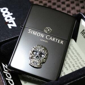 デザイナーZIPPO サイモンカーター スカルスワロフスキー ブラック つや消し ジッポ 人気 送料無料 ブランド 黒 髑髏 ドクロ かっこいい