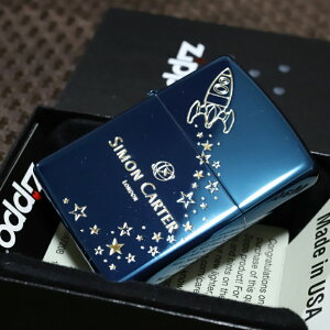 SIMON CARTER ジッポライター 青色 ロケット サイモンカーター オイルライター おしゃれ プレゼント 人気 ブランド ZIPPO zippoギフト 鏡面ブルー かっこいい かわいい