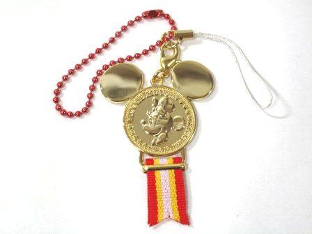 ディズニーリゾート限定 メダルストラップ ゴールド ミニー