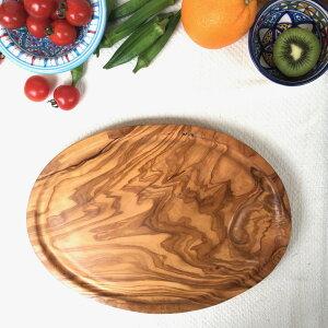 【直輸入 フェアトレード】オリーブの木 自然の抗菌作用 カッティングボード 北アフリカ・チュニジアより オリーブの木 溝付きOVALE 野菜やお肉、ソースのお汁がとまります カッティ