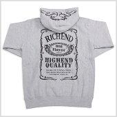 【★あす楽対応★】RICHEND/リッチエンドジップフーディ-SOLDIERS-【グレーxブラック】