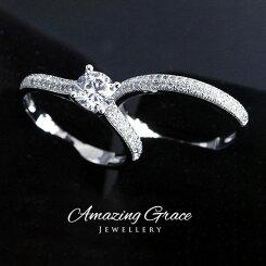 スワロフスキーリング指輪SWAROVSKIエレメンツダイヤモンドキュービックジルコニア一粒1粒パヴェセットリング[送料無料][即納]