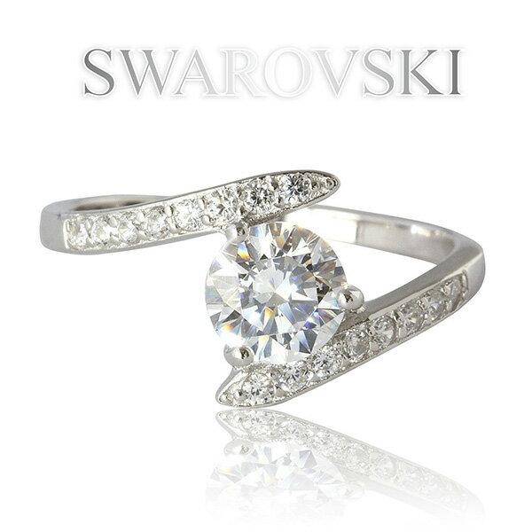 スワロフスキー リング レディース アクセサリー SWAROVSKI ジェム 刻印入 K18GP ホワイトゴールド 一粒 デザインリング [送料無料] [即納]