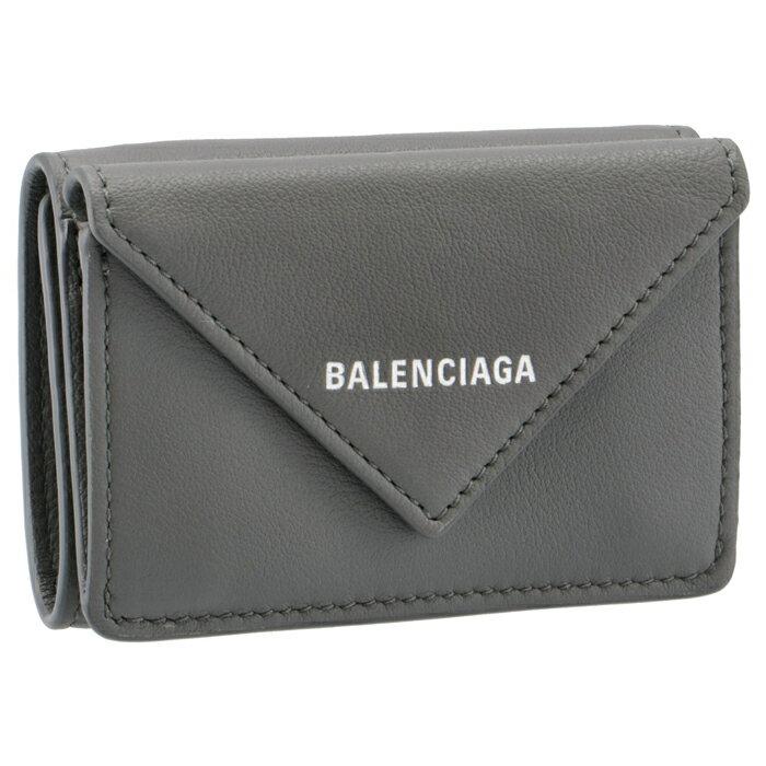 バレンシアガ BALENCIAGA 2018年春夏新作 ペーパーミニ PAPER ミニ財布 三つ折り財布 グレー 391446 DLQ0N 1215