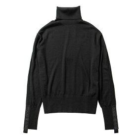 バーバリー BURBERRY 2021年秋冬新作 セーター ロゴテープ ウールシルク ロールネック ブラック 8021173 【2021AW】