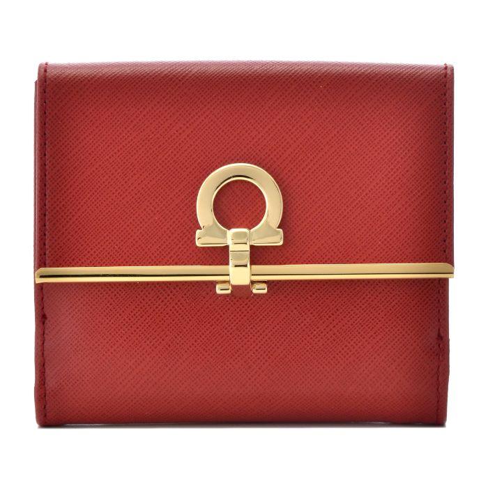 フェラガモ FERRAGAMO 財布 新作 型押しカーフスキン 二つ折り財布 224639 0007 0022
