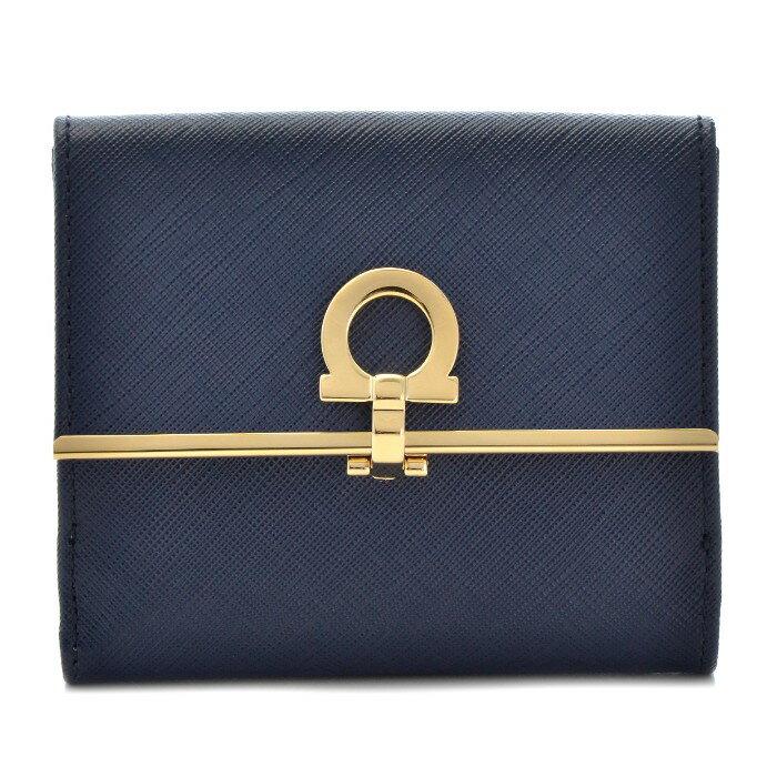 フェラガモ FERRAGAMO 財布 新作 型押しカーフスキン 二つ折り財布 224639 0007 0078
