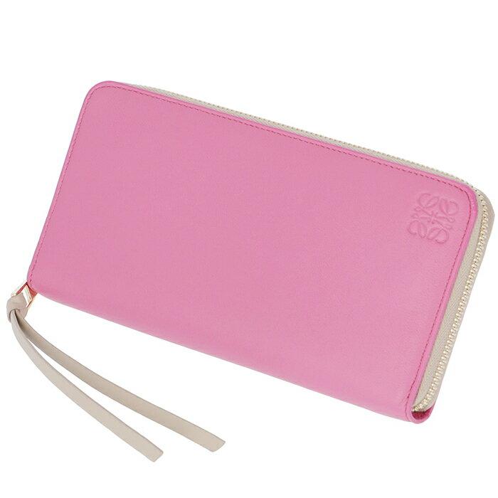 ロエベ LOEWE 財布 レディース ラウンドファスナー zip around wallet 長財布 ピンク×ピンクベージュ バイカラー 109N80F13 0004 7605【06SALE】