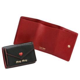 ミュウミュウ MIU MIU 財布 三つ折り ミニ財布 マドラスLOVE ミニウォレット ブラック 5MH021 2BC3 002【21WS】