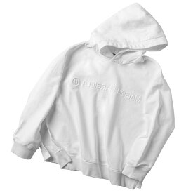 エム エム シックス メゾン マルジェラ MM6 MAISON MARGIELA 2020年秋冬新作 パーカー スウェットシャツ エンボス リバースロゴ フーディー ホワイト S52GU0123 S25337 101