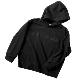 エム エム シックス メゾン マルジェラ MM6 MAISON MARGIELA 2020年秋冬新作 パーカー スウェットシャツ エンボス リバースロゴ フーディー ブラック S52GU0123 S25337 900
