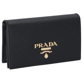 Prada PRADA autumn of 2018 winter new work card case レディースサフィアーノメタルブラック 1MC122 QWA 002