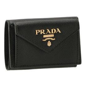 プラダ PRADA 三つ折り財布 ミニ財布 レディース サフィアーノ ブラック 1MH021 QWA 002