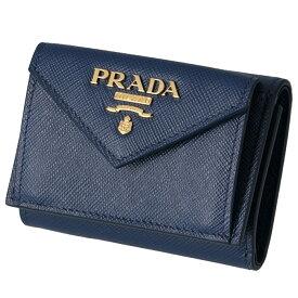 プラダ PRADA 三つ折り財布 ミニ財布 レディース サフィアーノ ネイビー ブルー系 1MH021 QWA 016