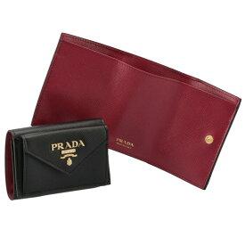 プラダ PRADA 財布 三つ折り サフィアーノ バイカラー ミニ財布 ブラック×ピンク 1MH021 ZLP 61H【21WS】