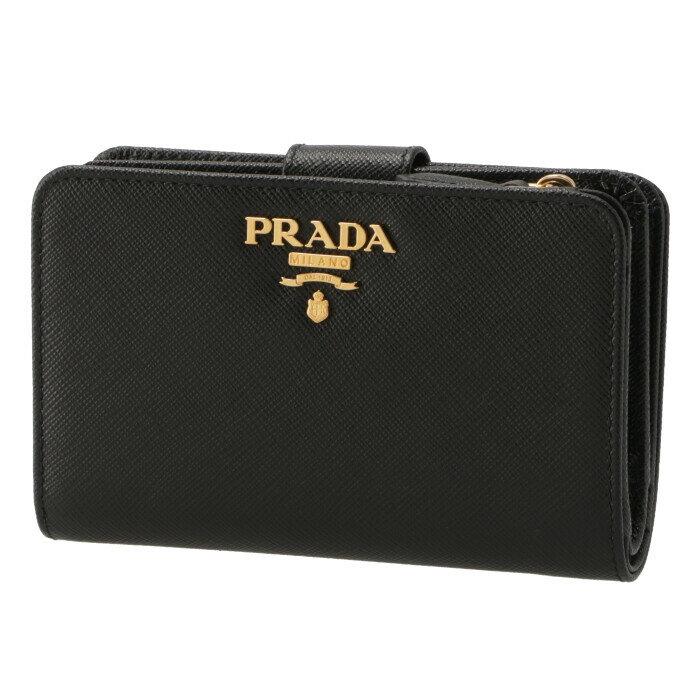 プラダ PRADA 2018年秋冬新作 財布 二つ折り 二つ折り財布 折財布 サフィアーノ 財布 レディース ブラック 1ML225 QWA 002