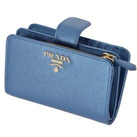 プラダ PRADA 財布 二つ折り 二つ折り財布 折財布 サフィアーノ 財布 レディース メタリック ブルー 1ML225 QWA CSQ 【19SS SALE】