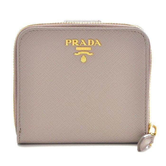 プラダ PRADA 財布 サフィアーノ メタル 二つ折り財布 グレー系 1ML522 QWA 572