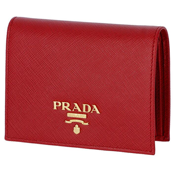 プラダ PRADA サフィアーノ 財布 レディース ミニ財布 二つ折り財布 レッド 1MV204 QWA 68Z
