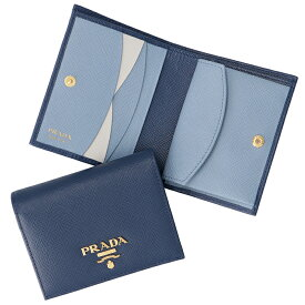 プラダ PRADA 財布 レディース 二つ折り サフィアーノ バイカラー ミニ財布 ネイビー×ブルー 1MV204 ZLP RAU