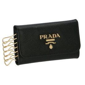 プラダ PRADA キーケース 型押しカーフスキン 6連キーケース ブラック系 1PG222 QWA 002