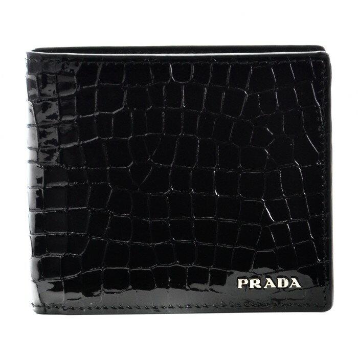 プラダ PRADA 財布 サフィアーノ メンズ 二つ折り財布 ブラック 2MO738 B5J 002【AWSALE】