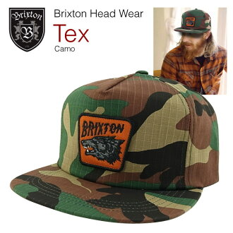Brixton TeX 5 Panel snaps back cotton twill Cap Woodland Camo (the Brixton TEX FIVE PANEL SNAP-BACK COTTON TWILL CAP)
