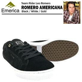 エメリカ ロメロ アメリカーナ ブラック/ホワイト/ゴールド スケート スケーター スニーカー (Emerica ROMERO AMERICANA)