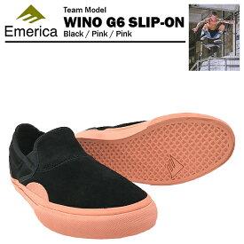 エメリカ ワイノ G6 スリップオン ブラック/ピンク/ピンク スケート スケーターシューズ (Emerica WINO G6 SLIP-ON)