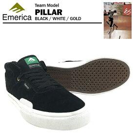 エメリカ ピラー ブラック/ホワイト/ゴールド スケート スケーター スニーカー (Emerica PILLAR)