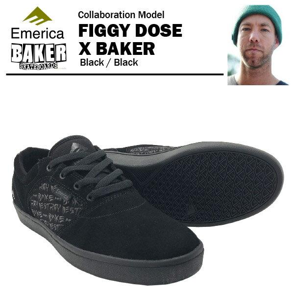 エメリカ×ベイカー フィギードース ブラック/ブラック スケート スケーター スニーカー (Emerica×BAKER FIGGY DOSE)