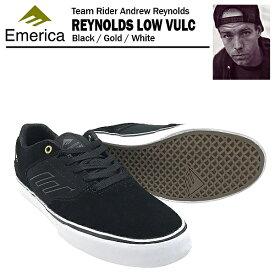 [絶版モデル] エメリカ ザ・レイノルズ ロー VULC ブラック/ゴールド/ホワイト スケート スケーター スニーカー (Emerica THE REYNOLDS LOW VULC)