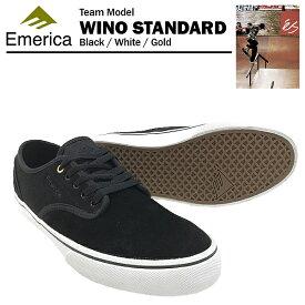 エメリカ ワイノ スタンダード ブラック/ホワイト/ゴールド スケート スケーターシューズ (Emerica WINO STANDARD)