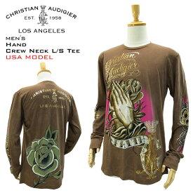 クリスチャン オードジェー メンズ クルーネック L/S Tシャツ ハンド ブラウン ラスト:Mサイズ (Christian Audigier MENS CREW NECK L/S TEE Ed Hardy EDHARDY エドハーディー エド ハーディー ロンT)