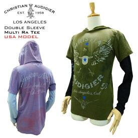 クリスチャン オードジェー 1 ダブルスリーブ フード Tシャツ ファルコン エンブレム (Christian Audigier 1 DOUBLE SLEEVE W HOOD TEE Ed Hardy EDHARDY エドハーディー エド ハーディー ロンT)