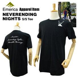 エメリカ ネバーエンディング ナイツ S/S Tシャツ ブラック ラスト:Sサイズ スケート スケーターウエア (Emerica NEVERENDING NIGHTS S/S TEE)