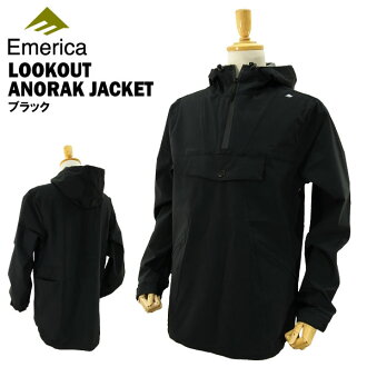 Emerica anorak jacket black Skate wear (Emerica LOOKOUT ANORAK JACKET pullover nylon jacket hood)