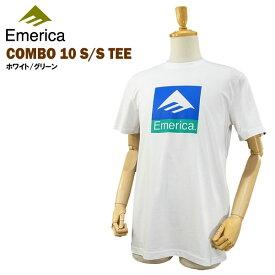 エメリカ コンボ 10 S/S Tシャツ ホワイト/グリーン ラスト:Sサイズ スケート スケーターウエアー (Emerica COMBO 10 S/S TEE) 【あす楽対応】【楽ギフ_包装】【あす楽_土曜営業】