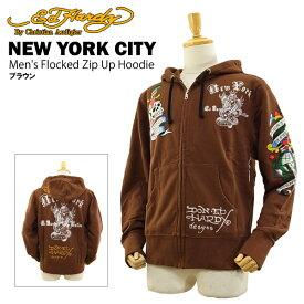 エド ハーディー メンズ フロックド ジップアップ フーディー ニューヨークシティー ブラウン (Men's Flocked Zip Up Hoodie NEW YORK CITY ED HARDY EDHARDY エドハーディー) 【あす楽対応】【楽ギフ_包装】【あす楽_土曜営業】