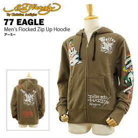 エド ハーディー メンズ フロックド ジップアップ フーディー 77 イーグル アーミー (Men's Flocked Zip Up Hoodie 77 EAGLE ED HARDY EDHARDY エドハーディー) 【あす楽対応】【楽ギフ_包装】【あす楽_土曜営業】